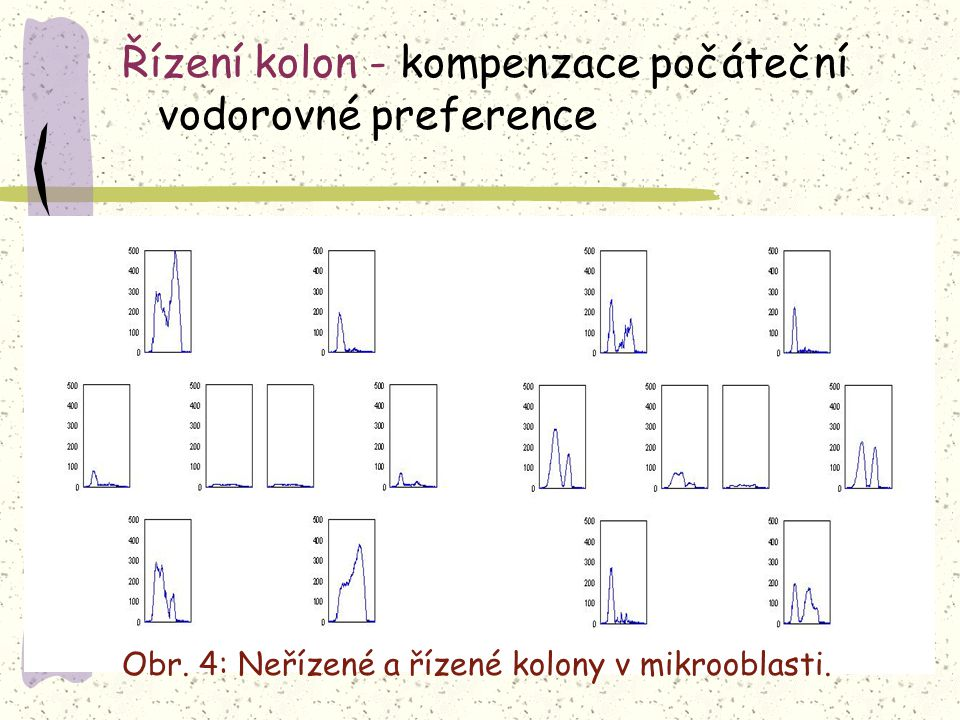 Řízení kolon - kompenzace počáteční vodorovné preference Obr. 4: Neřízené a řízené kolony v mikrooblasti.