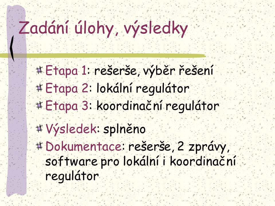 Zadání úlohy, výsledky Etapa 1: rešerše, výběr řešení Etapa 2: lokální regulátor Etapa 3: koordinační regulátor Výsledek: splněno Dokumentace: rešerše, 2 zprávy, software pro lokální i koordinační regulátor