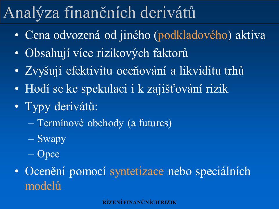 ŘÍZENÍ FINANČNÍCH RIZIK Analýza finančních derivátů Cena odvozená od jiného (podkladového) aktiva Obsahují více rizikových faktorů Zvyšují efektivitu