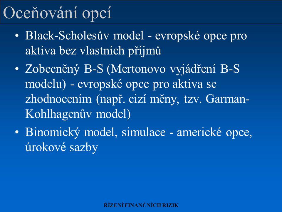 ŘÍZENÍ FINANČNÍCH RIZIK Oceňování opcí Black-Scholesův model - evropské opce pro aktiva bez vlastních příjmů Zobecněný B-S (Mertonovo vyjádření B-S mo