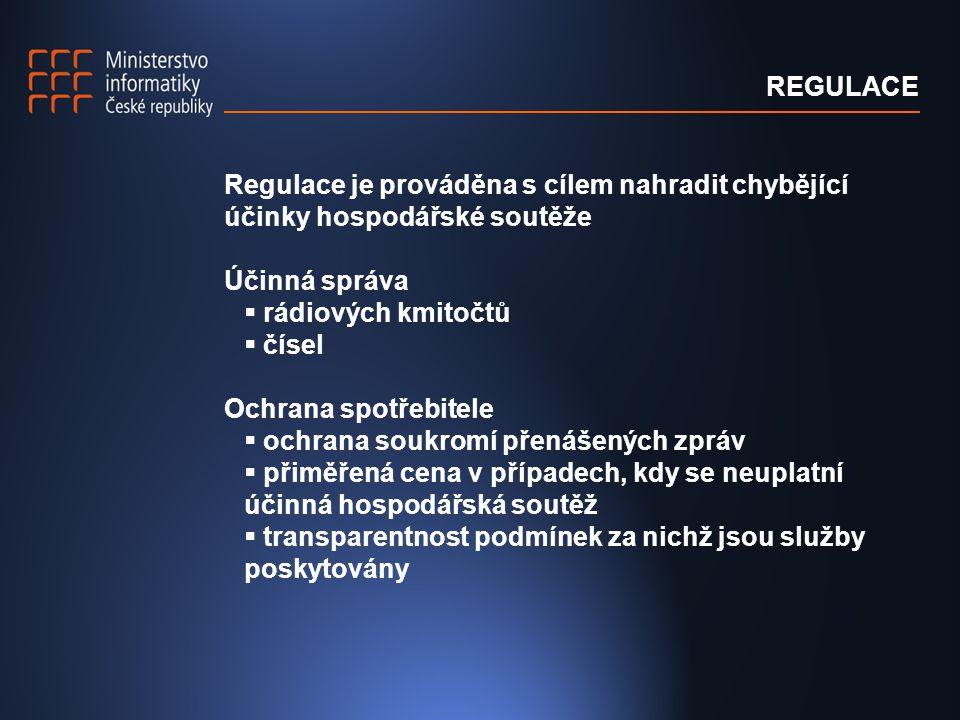 Zásady regulace nediskriminace objektivita technologická neutralita transparentnost proporcionalita