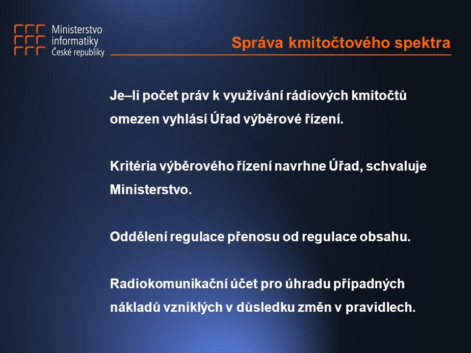 Správa kmitočtového spektra Je–li počet práv k využívání rádiových kmitočtů omezen vyhlásí Úřad výběrové řízení.