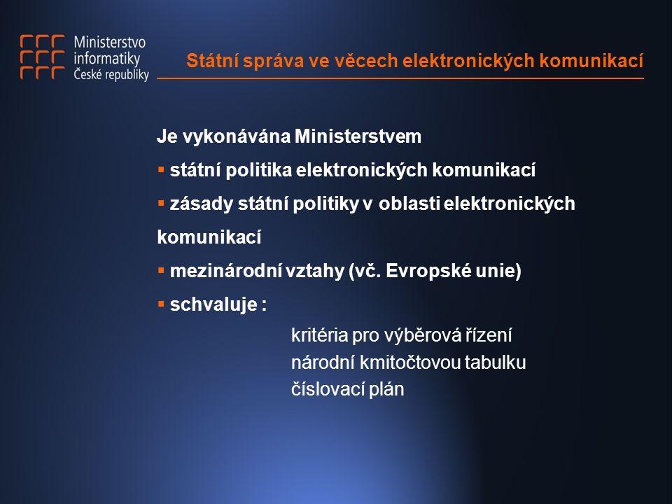 Státní správa ve věcech elektronických komunikací Je vykonávána Ministerstvem  státní politika elektronických komunikací  zásady státní politiky v oblasti elektronických komunikací  mezinárodní vztahy (vč.