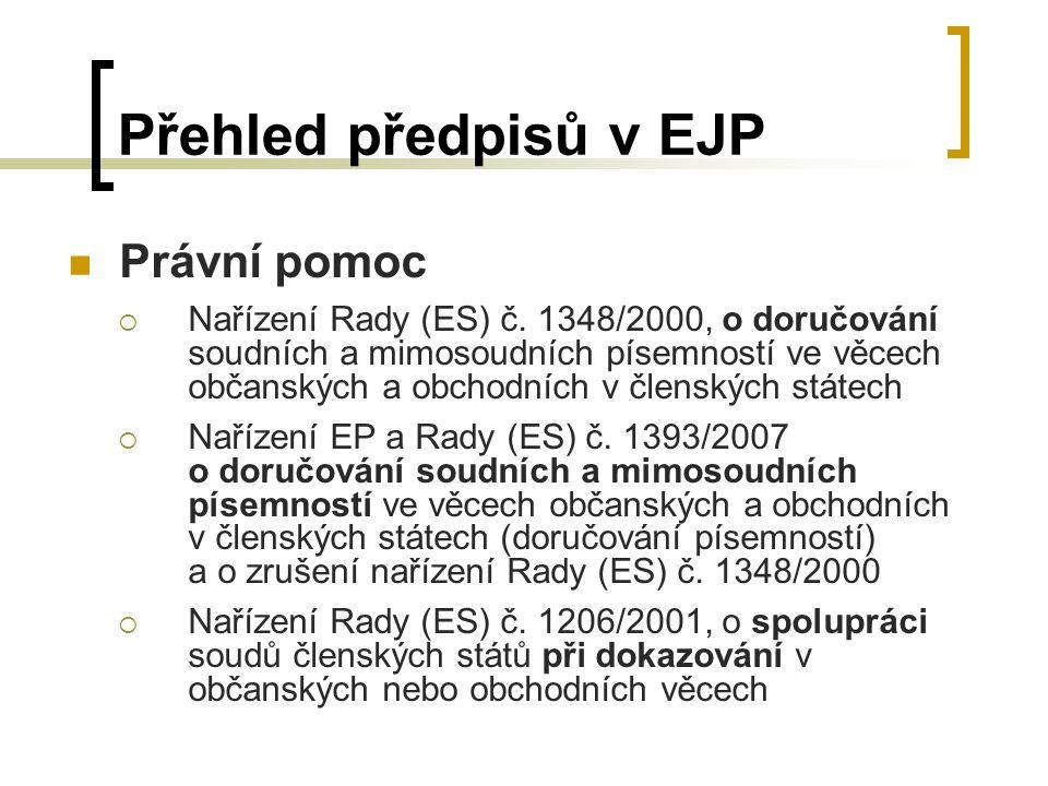 Přehled předpisů v EJP Právní pomoc  Nařízení Rady (ES) č.