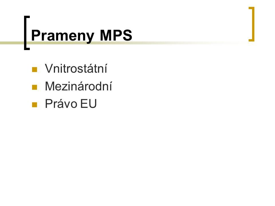 Prameny MPS Vnitrostátní Mezinárodní Právo EU