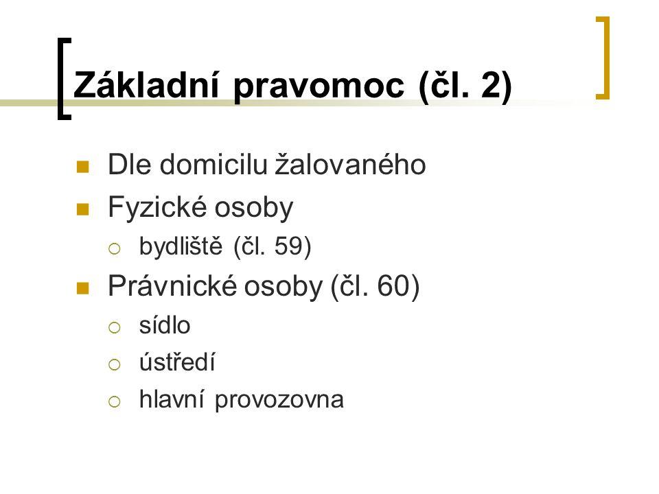 Základní pravomoc (čl.2) Dle domicilu žalovaného Fyzické osoby  bydliště (čl.