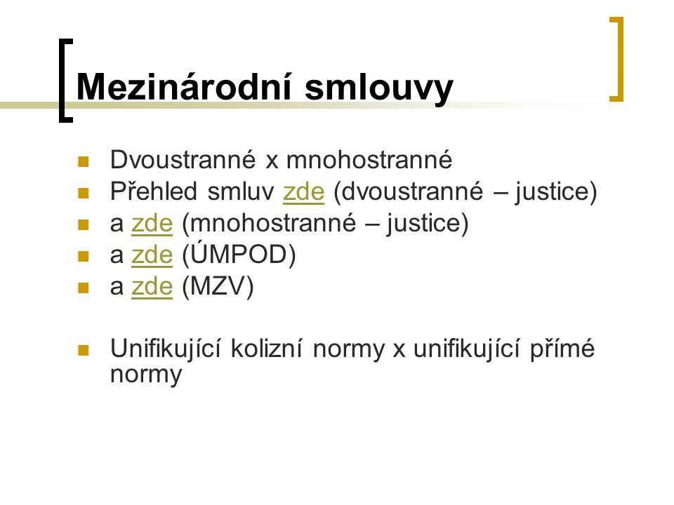 Mezinárodní smlouvy Dvoustranné x mnohostranné Přehled smluv zde (dvoustranné – justice)zde a zde (mnohostranné – justice)zde a zde (ÚMPOD)zde a zde (MZV)zde Unifikující kolizní normy x unifikující přímé normy