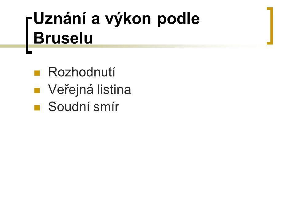 Uznání a výkon podle Bruselu Rozhodnutí Veřejná listina Soudní smír