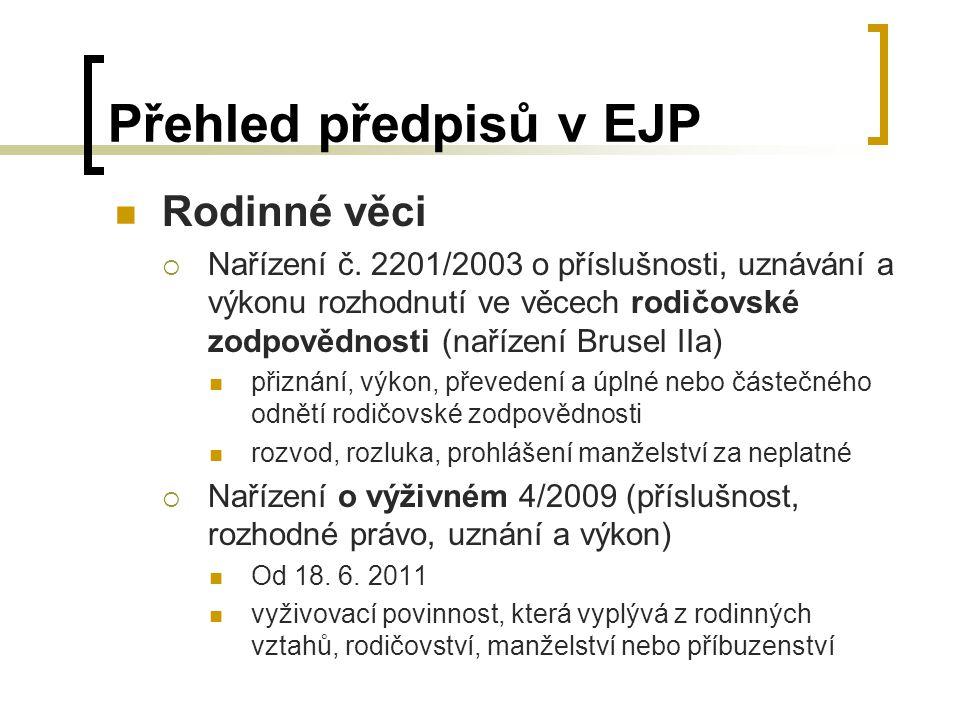 Přehled předpisů v EJP Rodinné věci  Nařízení č.