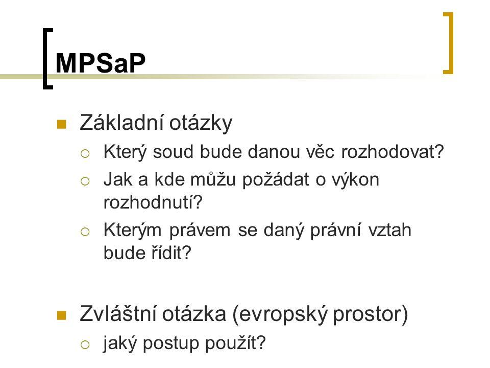 MPSaP Základní otázky  Který soud bude danou věc rozhodovat.