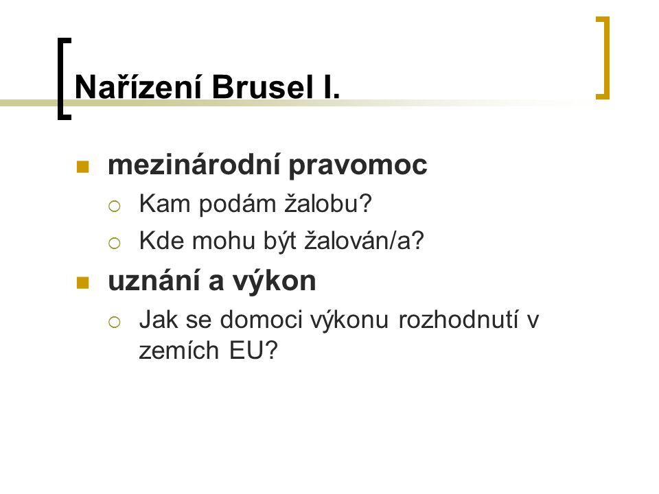 Nařízení Brusel I.mezinárodní pravomoc  Kam podám žalobu.