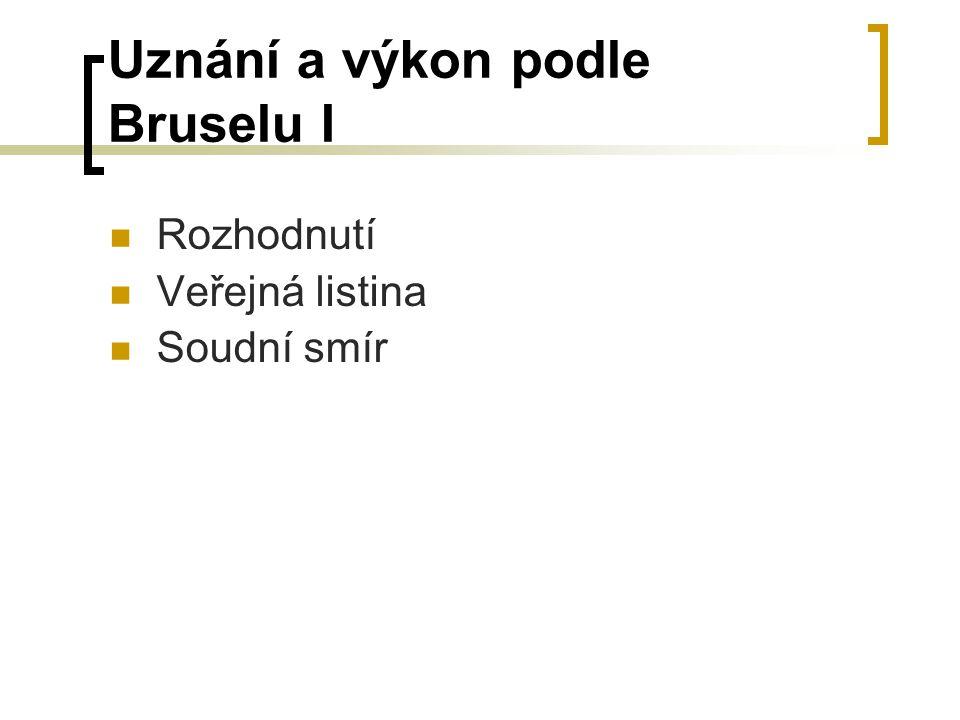 Uznání a výkon podle Bruselu I Rozhodnutí Veřejná listina Soudní smír