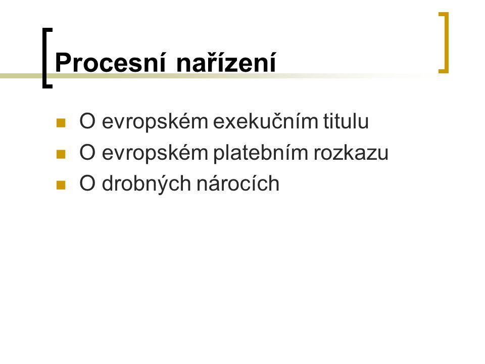 Procesní nařízení O evropském exekučním titulu O evropském platebním rozkazu O drobných nárocích