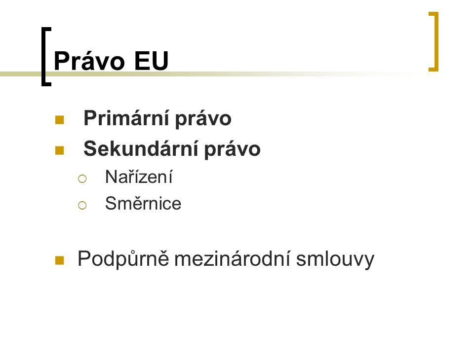 Právo EU Primární právo Sekundární právo  Nařízení  Směrnice Podpůrně mezinárodní smlouvy