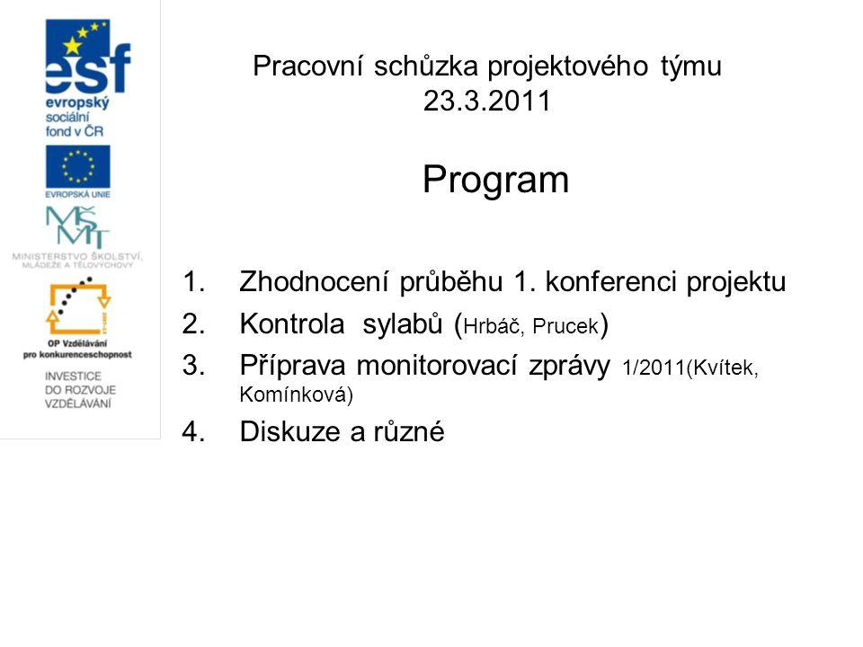 Pracovní schůzka projektového týmu 23.3.2011 Program 1.Zhodnocení průběhu 1. konferenci projektu 2.Kontrola sylabů ( Hrbáč, Prucek ) 3.Příprava monito