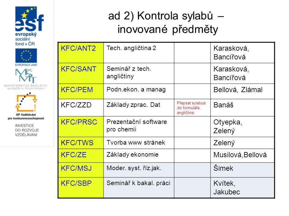 ad 2) Kontrola sylabů – inovované předměty KFC/ANT2 Tech. angličtina 2 Karasková, Bancířová KFC/SANT Seminář z tech. angličtiny Karasková, Bancířová K
