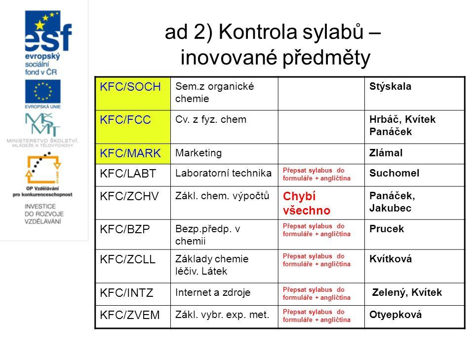 ad 2) Kontrola sylabů – inovované předměty KFC/SOCH Sem.z organické chemie Stýskala KFC/FCC Cv. z fyz. chemHrbáč, Kvítek Panáček KFC/MARK MarketingZlá