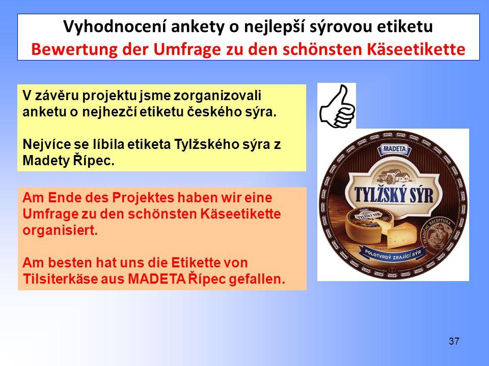 37 Vyhodnocení ankety o nejlepší sýrovou etiketu Bewertung der Umfrage zu den schönsten Käseetikette V závěru projektu jsme zorganizovali anketu o nejhezčí etiketu českého sýra.