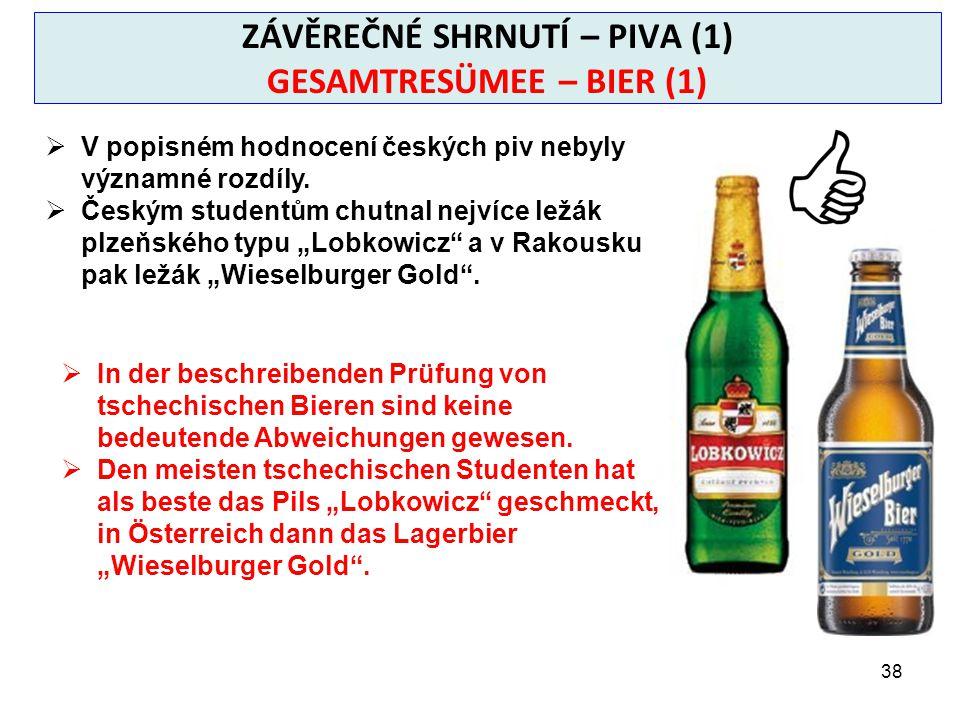 38 ZÁVĚREČNÉ SHRNUTÍ – PIVA (1) GESAMTRESÜMEE – BIER (1)  V popisném hodnocení českých piv nebyly významné rozdíly.
