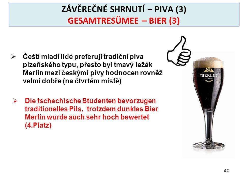 40 ZÁVĚREČNÉ SHRNUTÍ – PIVA (3) GESAMTRESÜMEE – BIER (3)  Čeští mladí lidé preferují tradiční piva plzeňského typu, přesto byl tmavý ležák Merlin mezi českými pivy hodnocen rovněž velmi dobře (na čtvrtém místě)  Die tschechische Studenten bevorzugen traditionelles Pils, trotzdem dunkles Bier Merlin wurde auch sehr hoch bewertet (4.Platz)