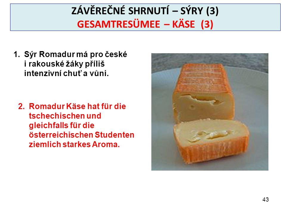 43 ZÁVĚREČNÉ SHRNUTÍ – SÝRY (3) GESAMTRESÜMEE – KÄSE (3) 1.Sýr Romadur má pro české i rakouské žáky příliš intenzivní chuť a vůni.