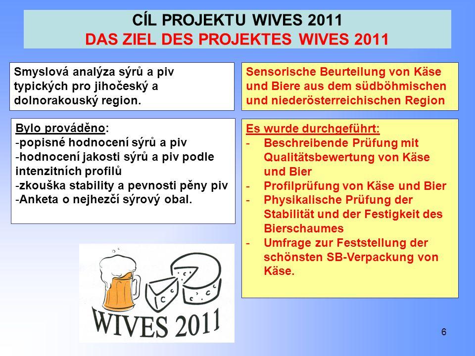 CÍL PROJEKTU WIVES 2011 DAS ZIEL DES PROJEKTES WIVES 2011 6 Smyslová analýza sýrů a piv typických pro jihočeský a dolnorakouský region.