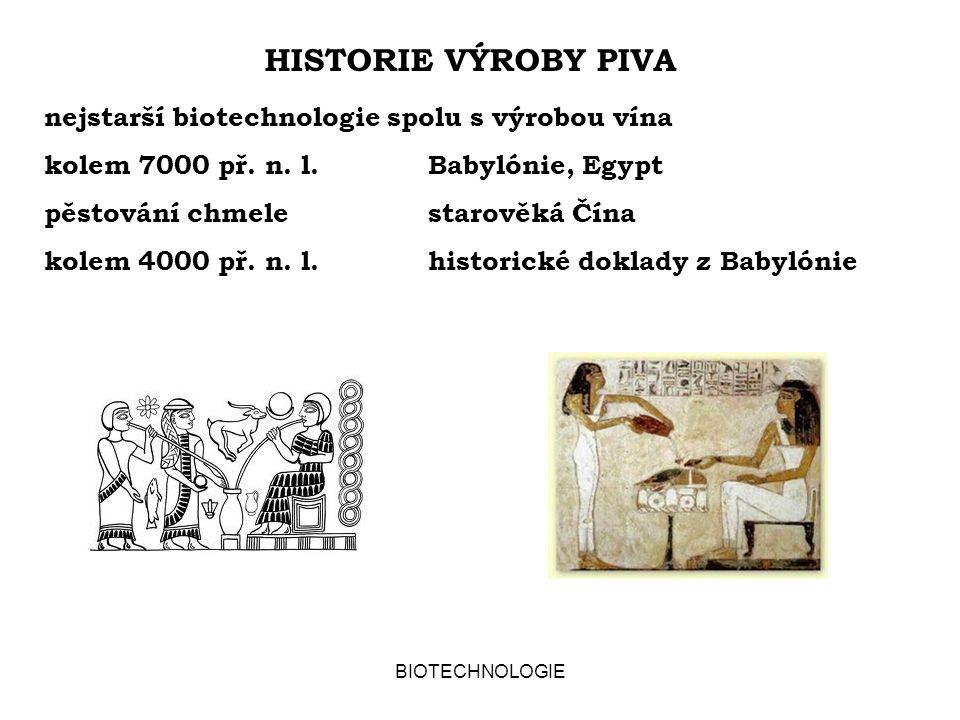 BIOTECHNOLOGIE HISTORIE VÝROBY PIVA nejstarší biotechnologie spolu s výrobou vína kolem 7000 př.