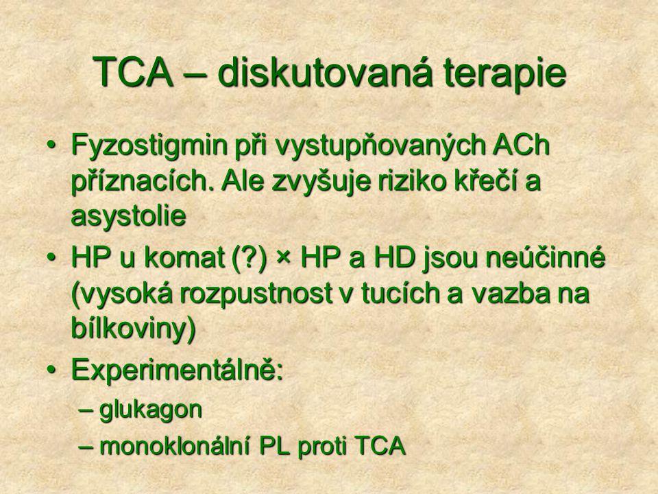 TCA – diskutovaná terapie Fyzostigmin při vystupňovaných ACh příznacích.