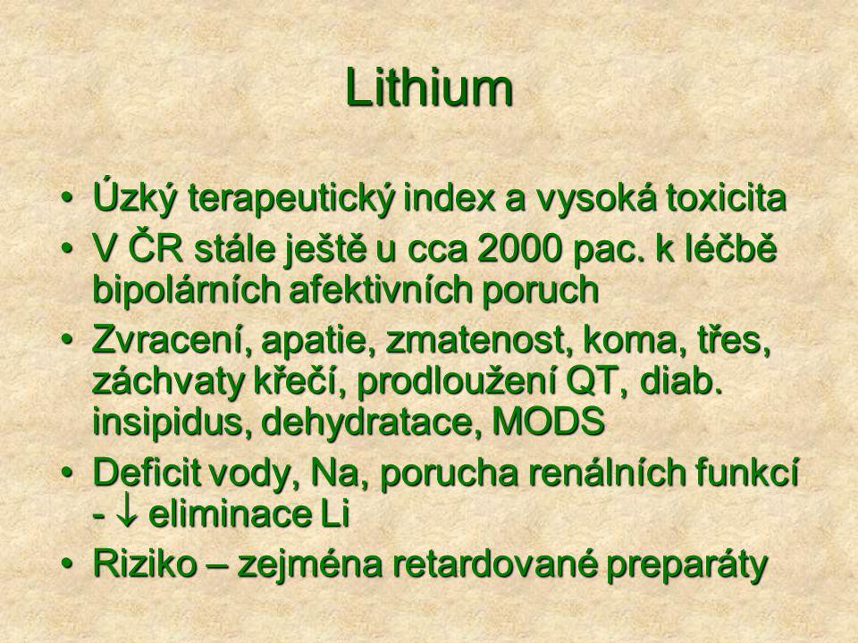 Lithium Úzký terapeutický index a vysoká toxicitaÚzký terapeutický index a vysoká toxicita V ČR stále ještě u cca 2000 pac.