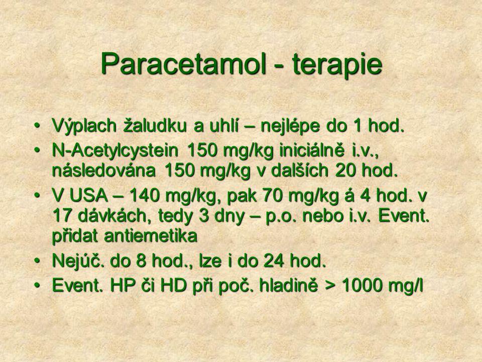 Paracetamol - terapie Výplach žaludku a uhlí – nejlépe do 1 hod.Výplach žaludku a uhlí – nejlépe do 1 hod.