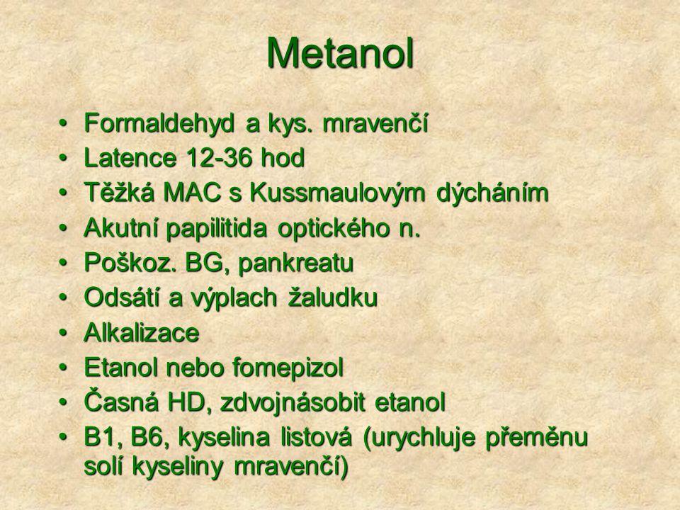 Metanol Formaldehyd a kys.mravenčíFormaldehyd a kys.