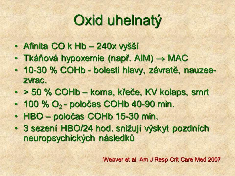 Oxid uhelnatý Afinita CO k Hb – 240x vyššíAfinita CO k Hb – 240x vyšší Tkáňová hypoxemie (např.