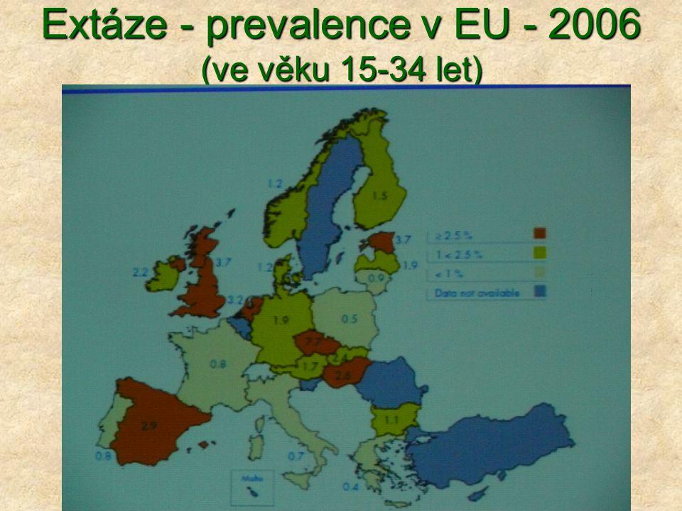 Extáze - prevalence v EU - 2006 (ve věku 15-34 let)