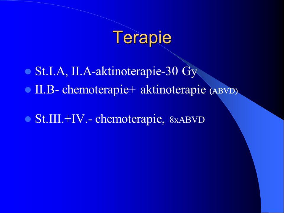 Terapie St.I.A, II.A-aktinoterapie-30 Gy II.B- chemoterapie+ aktinoterapie (ABVD) St.III.+IV.- chemoterapie, 8xABVD