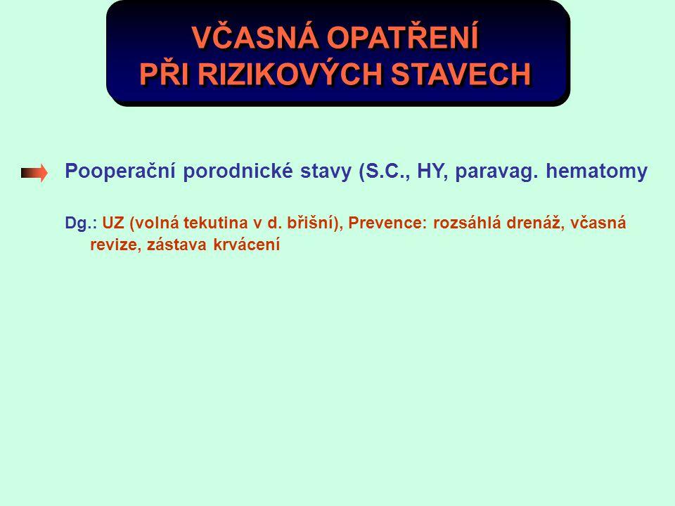 VČASNÁ OPATŘENÍ PŘI RIZIKOVÝCH STAVECH Pooperační porodnické stavy (S.C., HY, paravag. hematomy Dg.: UZ (volná tekutina v d. břišní), Prevence: rozsáh