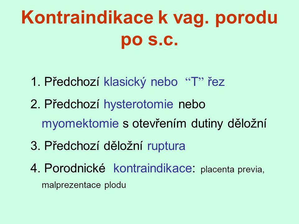 """1. Předchozí klasický nebo """" T """" řez 2. Předchozí hysterotomie nebo myomektomie s otevřením dutiny děložní 3. Předchozí děložní ruptura 4. Porodnické"""