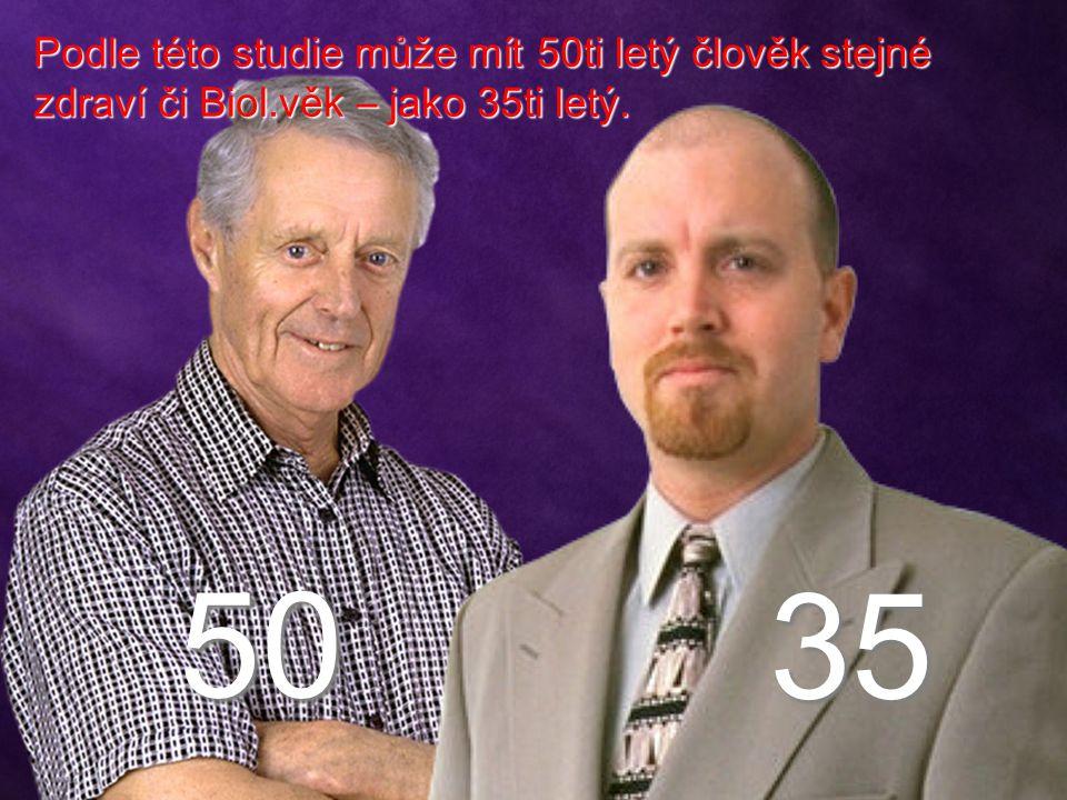 50 35 Podle této studie může mít 50ti letý člověk stejné zdraví či Biol.věk – jako 35ti letý.