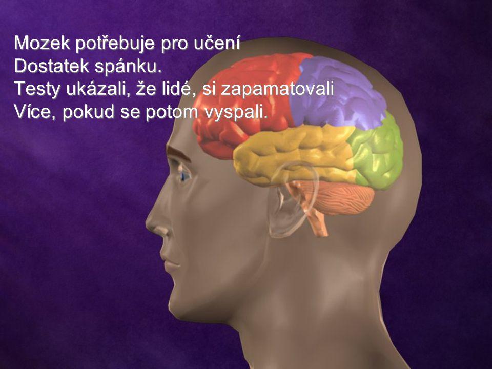 Mozek potřebuje pro učení Dostatek spánku. Testy ukázali, že lidé, si zapamatovali Více, pokud se potom vyspali.