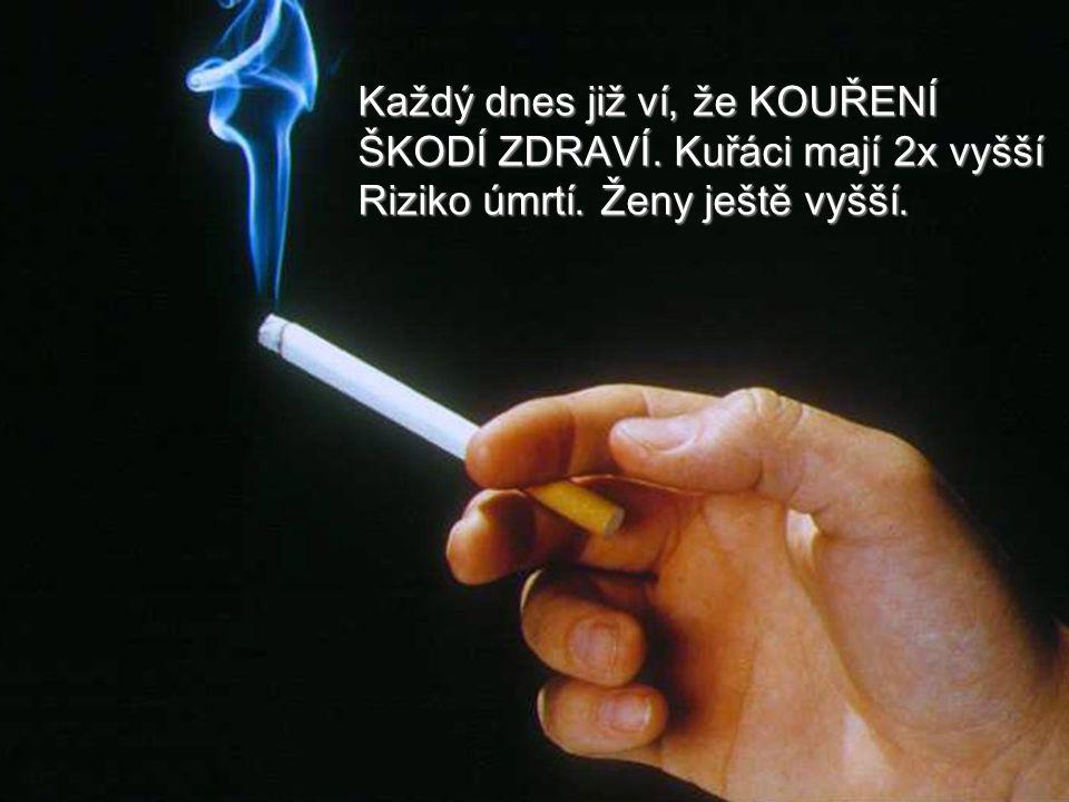 Každý dnes již ví, že KOUŘENÍ ŠKODÍ ZDRAVÍ. Kuřáci mají 2x vyšší Riziko úmrtí. Ženy ještě vyšší.