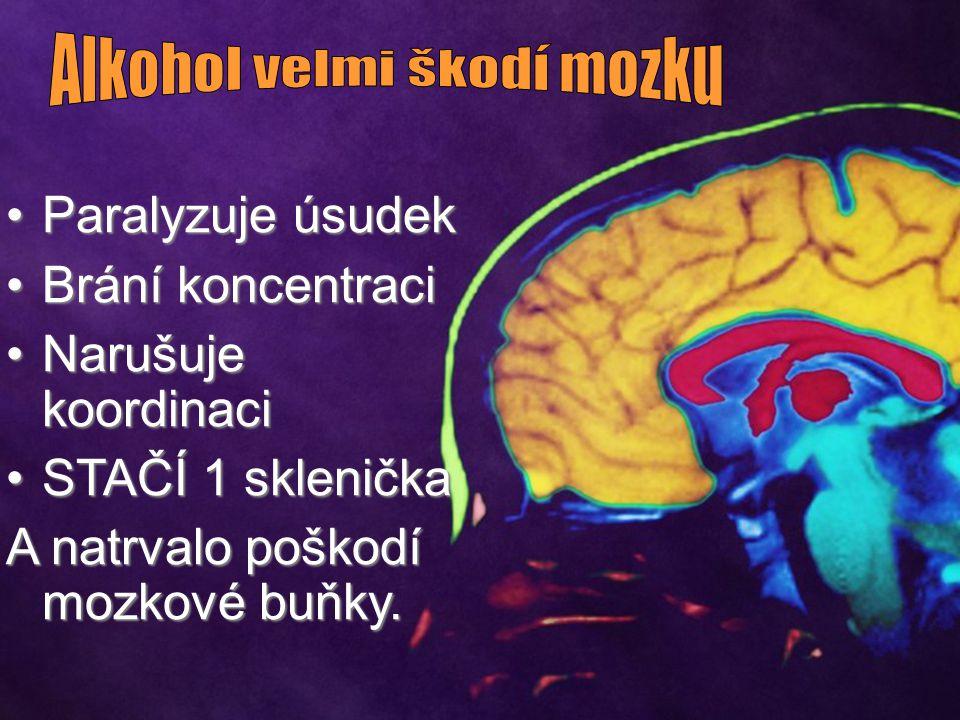 Paralyzuje úsudekParalyzuje úsudek Brání koncentraciBrání koncentraci Narušuje koordinaciNarušuje koordinaci STAČÍ 1 skleničkaSTAČÍ 1 sklenička A natrvalo poškodí mozkové buňky.