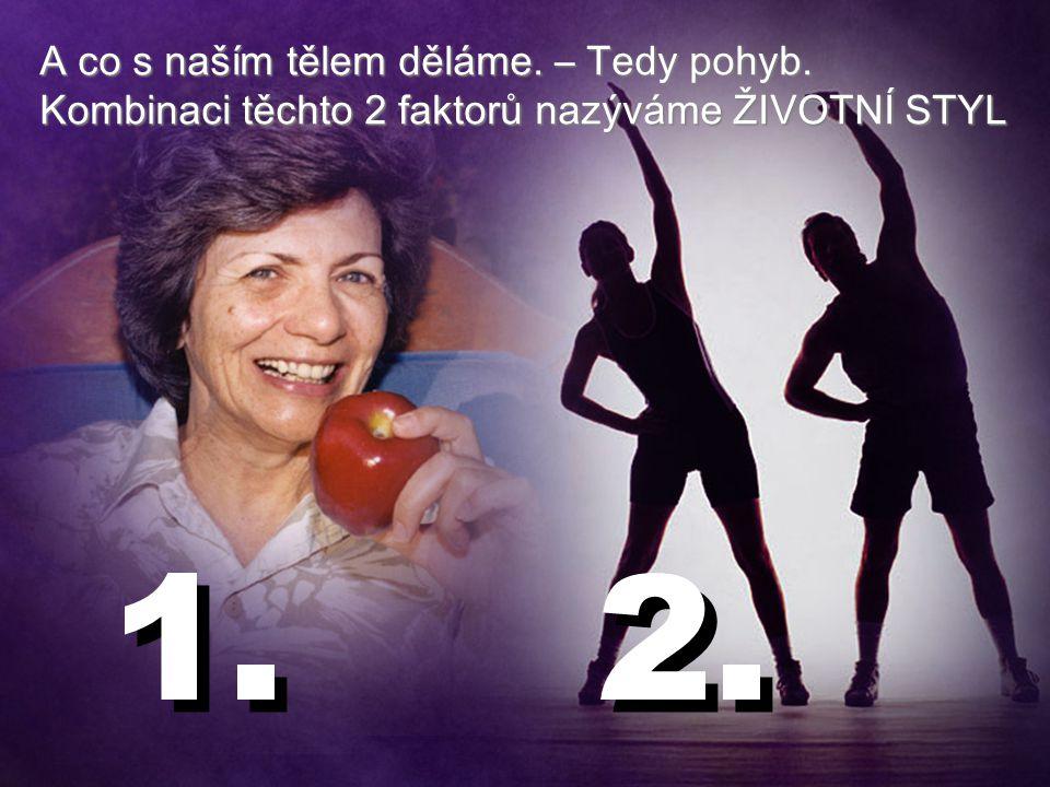 A co s naším tělem děláme. – Tedy pohyb. Kombinaci těchto 2 faktorů nazýváme ŽIVOTNÍ STYL