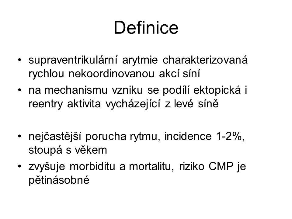 Definice supraventrikulární arytmie charakterizovaná rychlou nekoordinovanou akcí síní na mechanismu vzniku se podílí ektopická i reentry aktivita vycházející z levé síně nejčastější porucha rytmu, incidence 1-2%, stoupá s věkem zvyšuje morbiditu a mortalitu, riziko CMP je pětinásobné