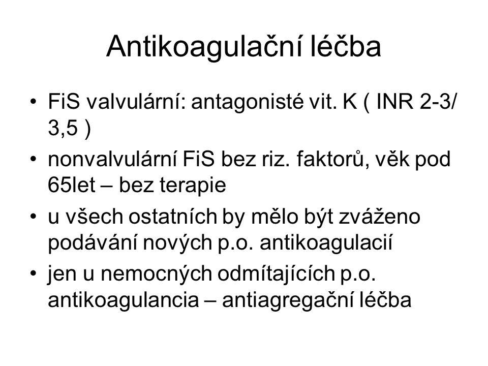 Antikoagulační léčba FiS valvulární: antagonisté vit.