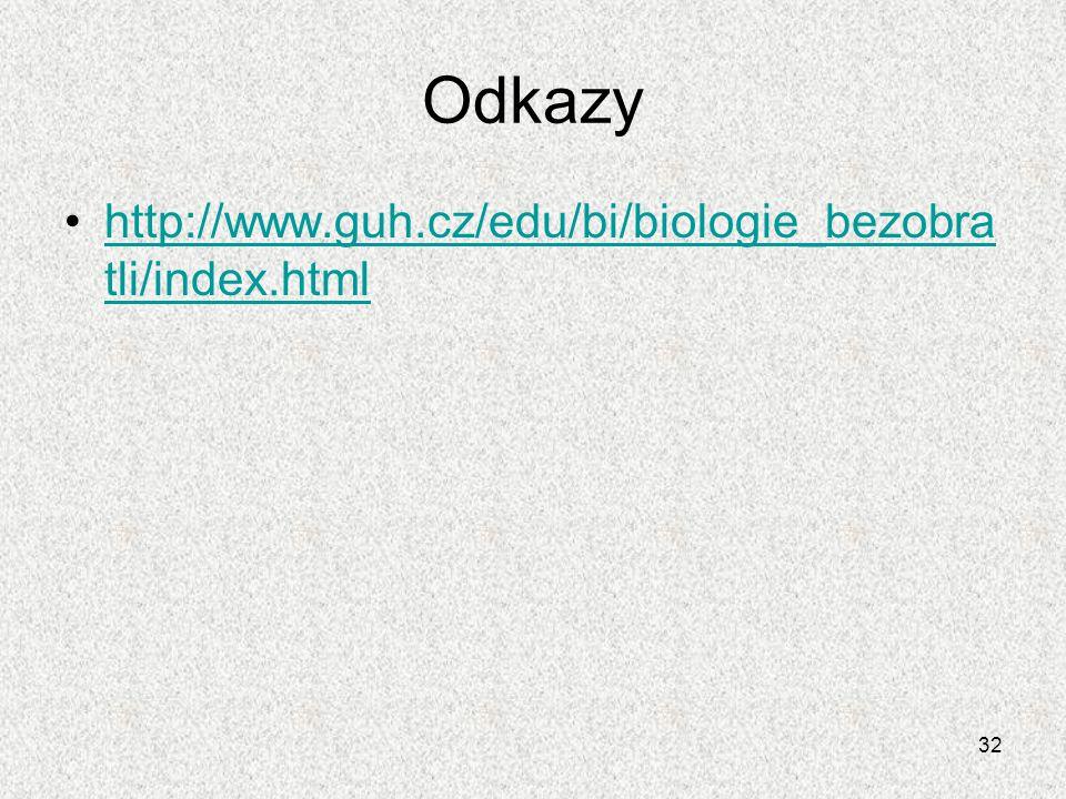 32 Odkazy http://www.guh.cz/edu/bi/biologie_bezobra tli/index.htmlhttp://www.guh.cz/edu/bi/biologie_bezobra tli/index.html
