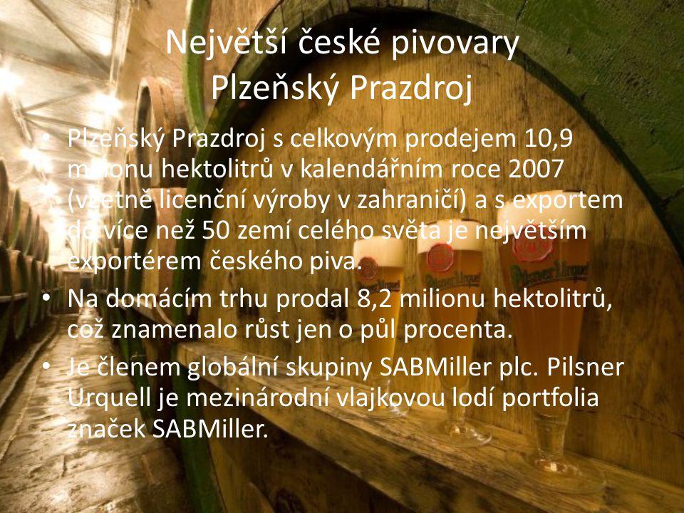 Největší české pivovary Plzeňský Prazdroj Plzeňský Prazdroj s celkovým prodejem 10,9 milionu hektolitrů v kalendářním roce 2007 (včetně licenční výroby v zahraničí) a s exportem do více než 50 zemí celého světa je největším exportérem českého piva.