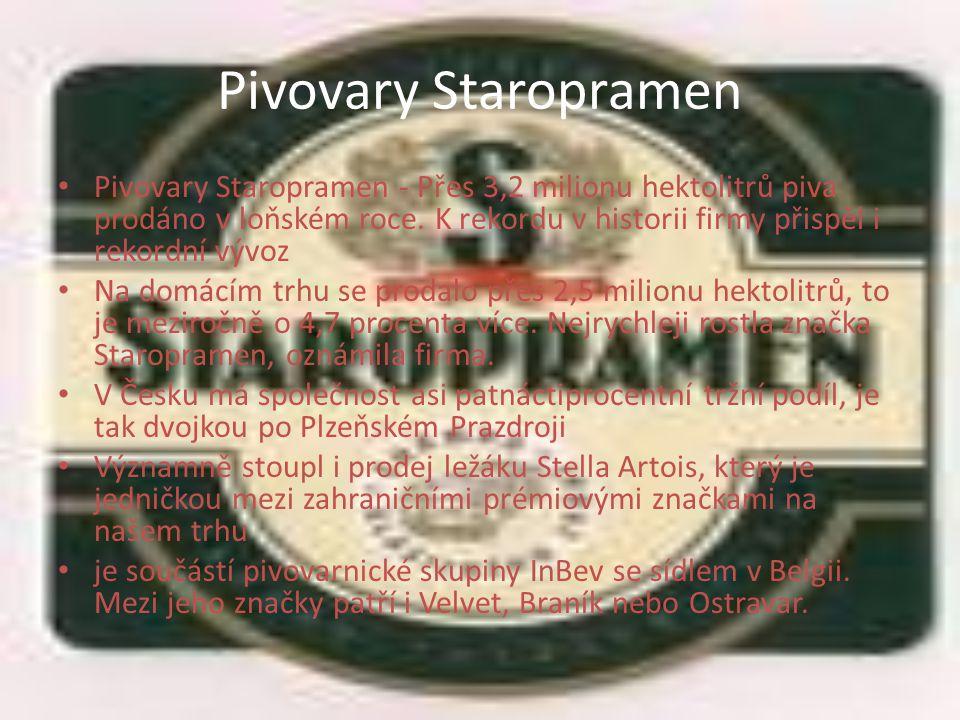 Pivovary Staropramen Pivovary Staropramen - Přes 3,2 milionu hektolitrů piva prodáno v loňském roce.
