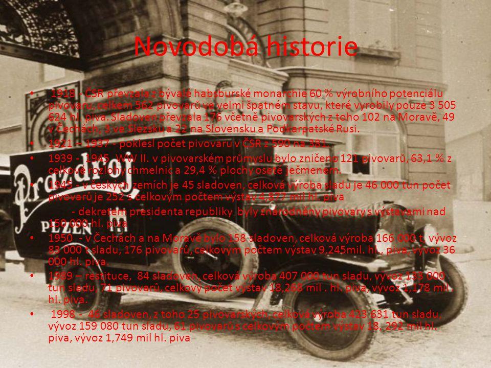 Novodobá historie 1918 - ČSR převzala z bývalé habsburské monarchie 60 % výrobního potenciálu pivovaru, celkem 562 pivovarů ve velmi špatném stavu, které vyrobily pouze 3 505 624 hl.