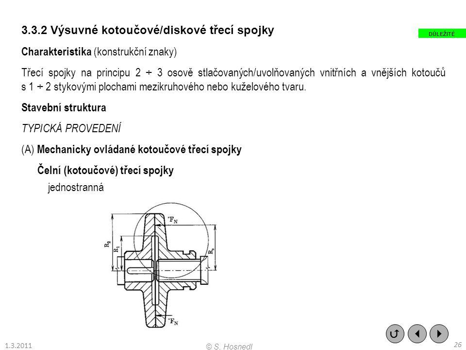 3.3.2 Výsuvné kotoučové/diskové třecí spojky Charakteristika (konstrukční znaky) Třecí spojky na principu 2 ÷ 3 osově stlačovaných/uvolňovaných vnitřn