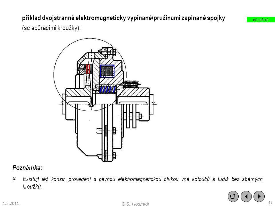 Poznámka:  Existují též konstr. provedení s pevnou elektromagnetickou cívkou vně kotoučů a tudíž bez sběrných kroužků. příklad dvojstranné elektromag