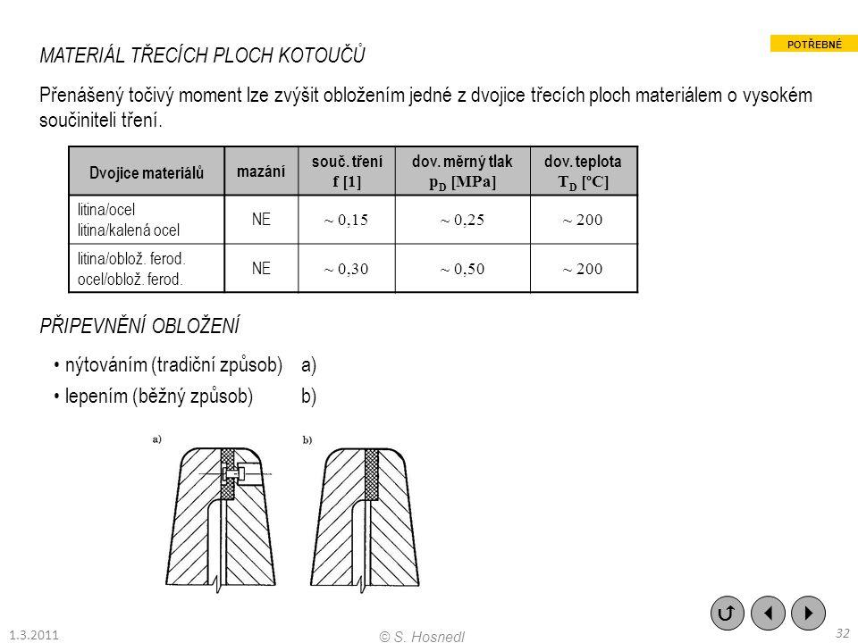 MATERIÁL TŘECÍCH PLOCH KOTOUČŮ Přenášený točivý moment lze zvýšit obložením jedné z dvojice třecích ploch materiálem o vysokém součiniteli tření. PŘIP